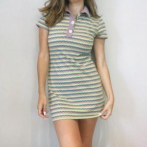 UO retro pastel striped mini dress